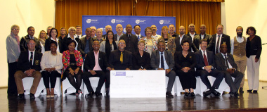 Minister Anroux Marais and Councillor Poole with representatives of all the federation which received funding