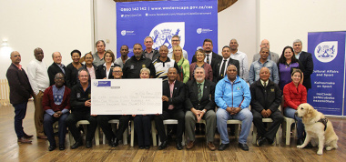 Minister Anroux Marais and Dr Lyndon Bouah with representatives of the various Cape Winelands sports federations.