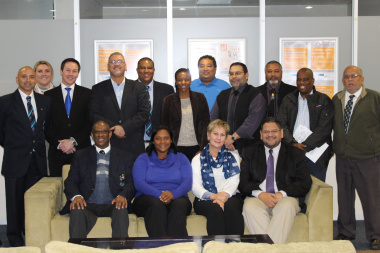Minister Marais and HOD Brent Walters with members of the Western Cape sport confederation