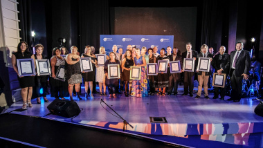 Minister Anroux Marais and HOD Brent Walters with some of the winners of the Cultural Affairs Awards 2017/18