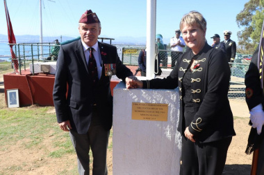 Minister Anroux Marais and MP Mark Wiley at the plaque that was unveilled during the ceremony on Signal Hill