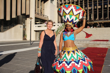 Minister Anroux Marais being welcomed to the Cultural Affairs Awards at the Artscape by an artist