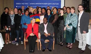 Minister Anroux Marais, Dr Mxolisi Dlamuka, Michael Janse van Rensburg and Western Cape Museum managers at the annual museum symposium in Stellenbosch