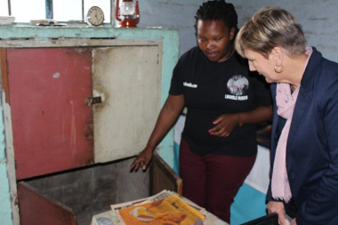 Minister Marais during her tour of the Hostel, with Masa Soko, the Museum Manager