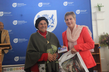 Minister Anroux Marais handed over recordings to community members in Elim