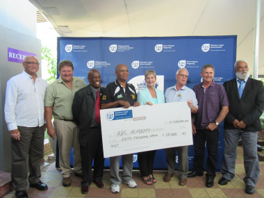 Minister Marais , Mayor of Swartland Municipality, Tijmen van Essen, the President of Boland Rugby Union, Ivan Pekeur, Alan Zondagh and Dept officials