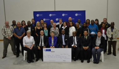 Minister Anroux Marais with all the sport funding recipients in the Overberg and officials from the department