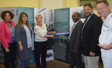 Minister Anroux Marais with Charlene Houston, Cathy Salter-Jansen, Mxolisi Dlamuka, HOD Walters and Commander Steyn at the launch of the SS Mendi exhibition at the Simon's Town Museum