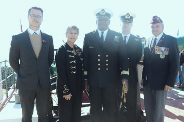 Minister Anroux Marais with CoCT Councillor Dave Bryant, Admiral Dlamini, Commander Steyn and MP Mark Wiley
