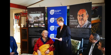 Minister Anroux Marais with Denis Goldberg who is one of only two surviving Rivionia trialists