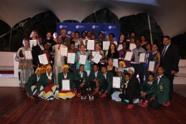 Minister Marais with HOD Brent Walters and all the winners on the evening