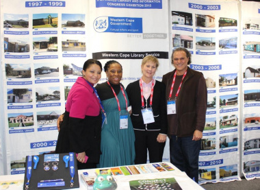 Minister Marais with Library Service staff at the Western Cape Library Service Exhibition stand.