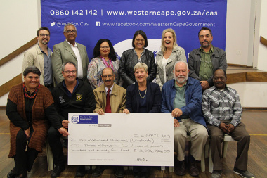 Minister Anroux Marais with managers from the various museums which received funding.