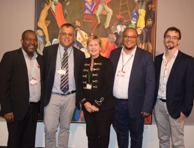 Minister Marais with Mxolisi Dlamuka, Dr Rassool, Guy Redman and Michael Janse van Rensburg at the 81st SAMA Conference in Bellville