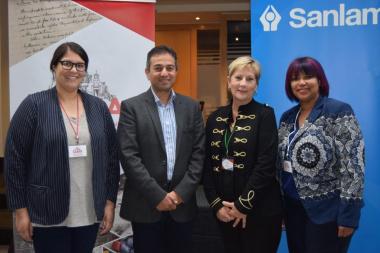 Minister Marais with Sanlam representatives Ayesha Hendricks (Assistant Archivist), Sana-Ullah Bray (Company Secretary and Catherine Snel (Archivist) at the 81st SAMA Conference in Bellville