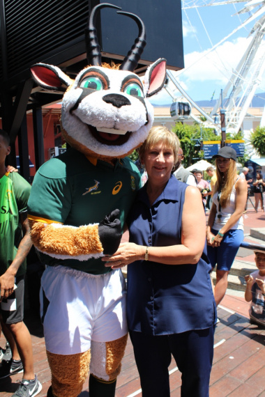 Minister Marais with the Springbok mascot Bokkie.