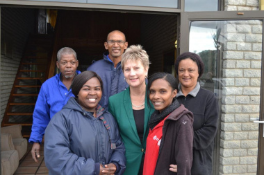 Minister Marais with the staff at the Melkbos Cultural facilities