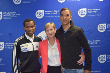 Minister Marais with Thulasizwe Mxenge (left) and Marco Abrahams (right)