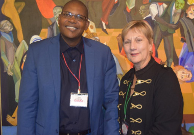 Minister Marais with Victor Netshiavha from Freedom Park who has reached the end of his term as SAMA President