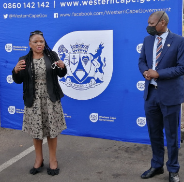 Minister Mbombo showing Dr Mkhize Sonstraal Facility