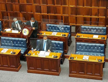 Minister Meyer about to deliver his budget address