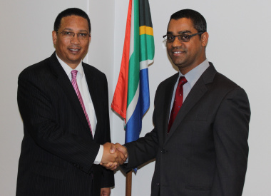 Minister Ivan Meyer and newly appointed Deputy Director-General Aziz Hardien