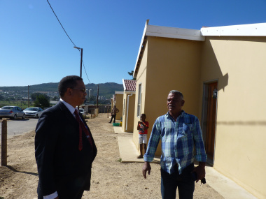 Minister Meyer and Councillor K. Papier during the oversight visit to the Saviva Housing Project.