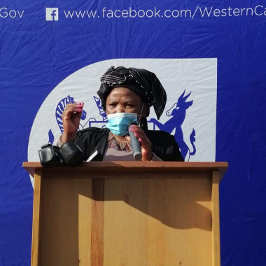 Minister Nomafrench Mbombo addresses the audience