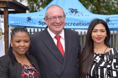 Minister Nomafrench Mbombo with Councillor Dr Lourens du Toit and Natalie Becker