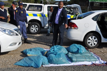Minister Plato with 45 kg marijuana drug bust on the R27