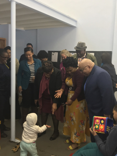 Ministers Fritz & Mbombo (with social workers) interact with disabled FAS children