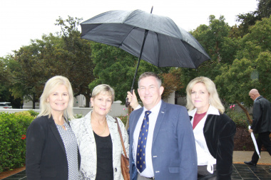 Ministers Shafer and Marais with Dr Kok and Museum Manager Anita van der Merwe at the launch in Franschhoek