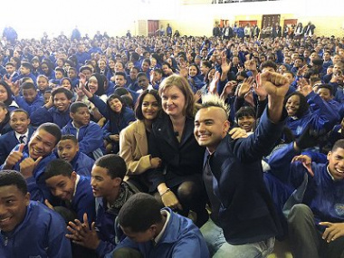 Provincial Education Minister, Debbie Schäfer, Season 13 Idols South Africa winner, Paxton Fielies, and radio DJ and TV presenter, Carl Wastie