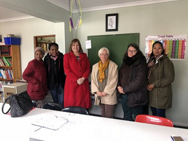 Community Worker at Ons Plek's Intervention Facility, Ukondla - Nomthandazo Matshotyana; Teacher at Ukondla – Grace Svondo; Western Cape Education Minister, Debbie Schäfer, Ons Plek Director - Pam Jackson; Deputy Director - Gina Jagers and Social Worker a