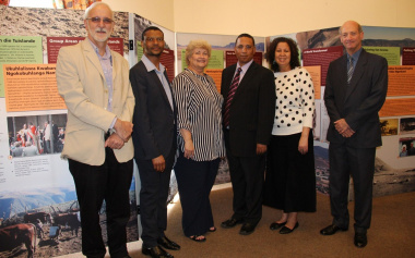 Mr Andrew Hall, Mr Bongani Ndhlovu, Ms Hannetjie du Preez, Dr Ivan Meyer, Ms Charlene Houston and Mr Gerald Klinghardt at the exhibition opening.