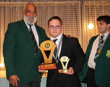 Henry Paulse (DCAS Sport Promotion) with Aquatics athlete Pieter Bell (Sportsman of the Year with a Disability).
