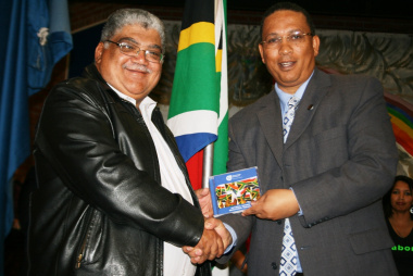 Mr Norman Cloete (principal of Weston High School) and Dr Ivan Meyer at the National Anthem CD handover ceremony.