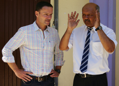 Mr Paul Woolf discussing the way forward with Lavender Hill High principal Faseeg Manie.