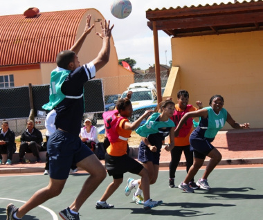 Netball in action with two teams from the Department of Health