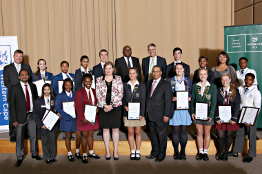 Representatives of Nedbank, the Western Cape Treasury and Education Department with fourteen of the fifteen Bursary Winners.