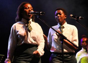 Nobubele Fana and Sibulele Makeleni from the Langa School's Music Project on stage