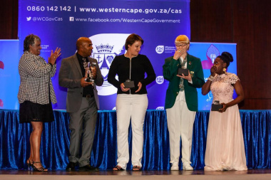 Nosipho Schroeder shows her delight at being named the winner as sportswoman with a disability at the Cape Town Metro Sports Awards