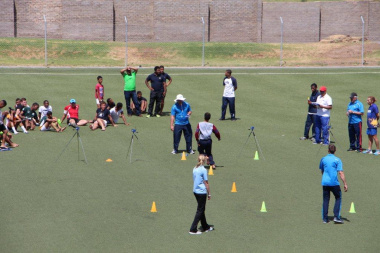 Officials giving athletes the necessary support ensuring a successful day at the Rustdene Stadium in Beaufort West