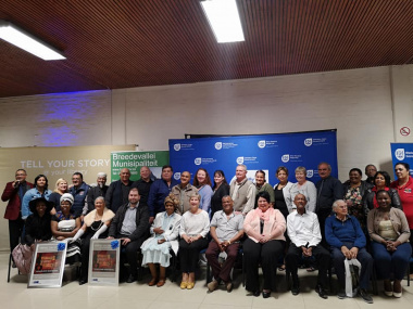 Minister Anroux Marais with attendees at the launch of the Oral History Initiative in Worcester