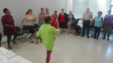 DCAS Sport Promotion Olivia Carolisen shares basic tips to living active and healthy at the diabetic awareness campaign in Hermanus