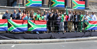 Olympians and Paralympians gathered at the iconic City Hall prior to the parade.