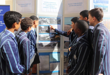 Paarl Boys High learners took a keen interest in the archives exhibition in front of the library in Paarl