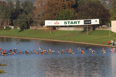 Paddlers lining up at the start of the 55th Berg River Canoe Marathon.