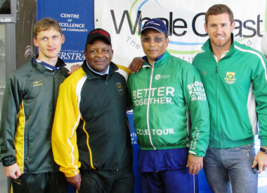 Paralympian Hendri Herbst, SASCOC President Gideon Sam, DCAS Minister Dr Ivan Meyer and Olympic swimmer Cameron van der Burgh.