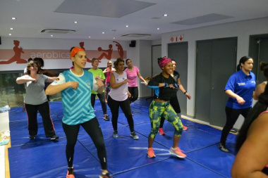 Participants, including Minister Marais, enjoyed the aerobic workout